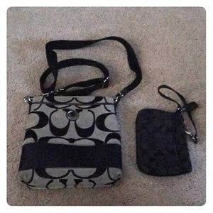 Authentic coach cross body and small wristlet